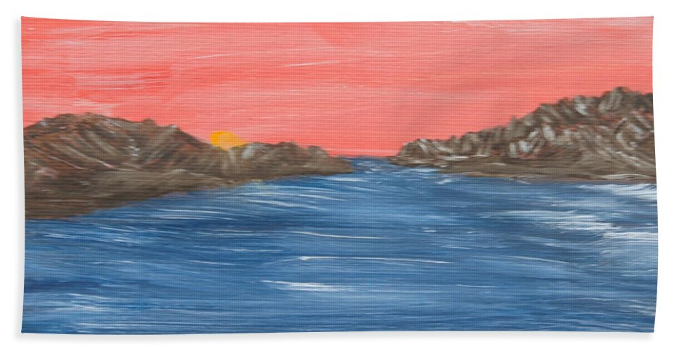 Ocean Bath Sheet featuring the painting Pink Sunset by Suzanne Surber