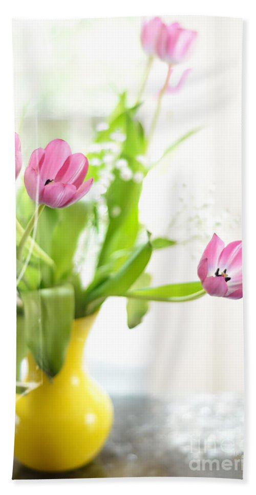 Tulip Hand Towel featuring the photograph Pink Tulips In Yellow Vase by Lois Bryan