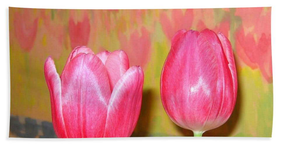 Pink Tulips Hand Towel featuring the photograph Pink Tulips by Will Borden