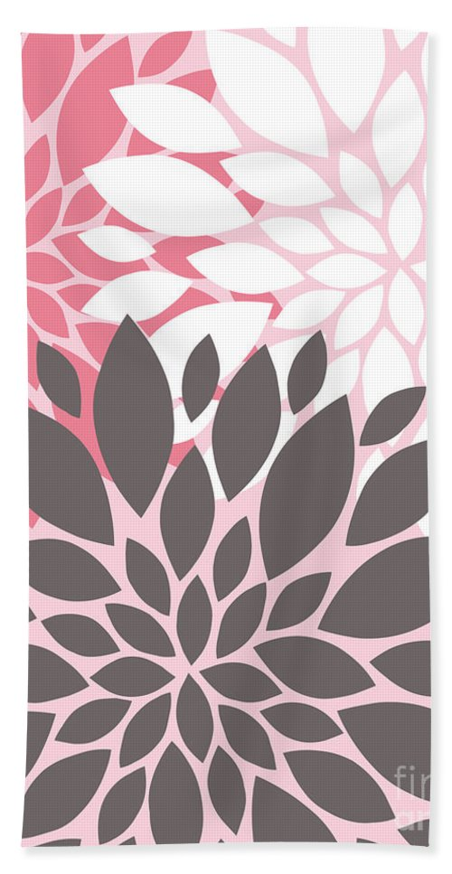 Pink Bath Sheet featuring the digital art Pink White Grey Peony Flowers by Voros Edit