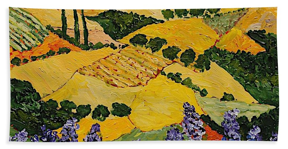 Landscape Bath Towel featuring the painting Piping Hot by Allan P Friedlander