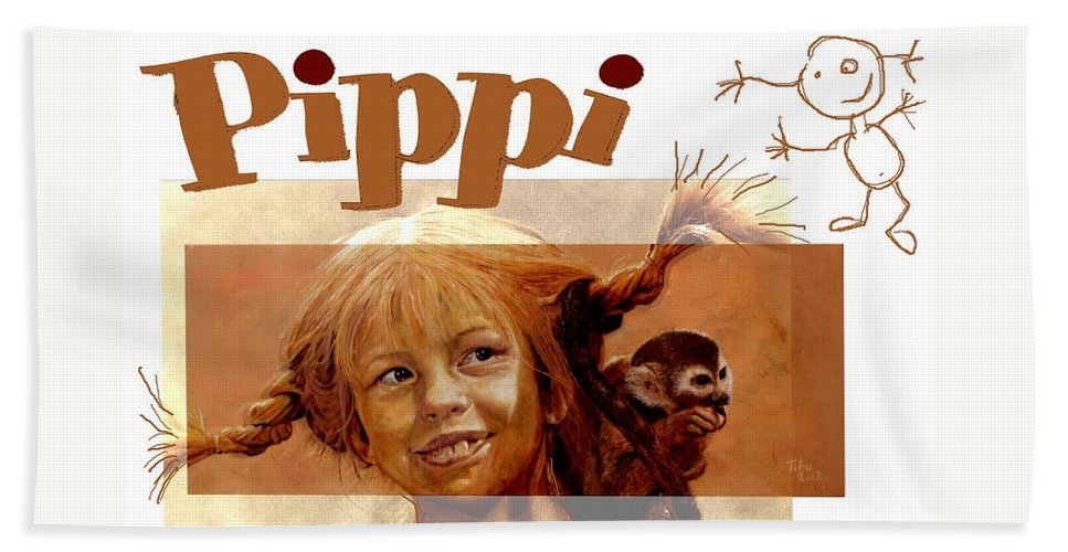 Pippi Bath Sheet featuring the painting Pippi Longstocking - Fan Version by Richard Tito