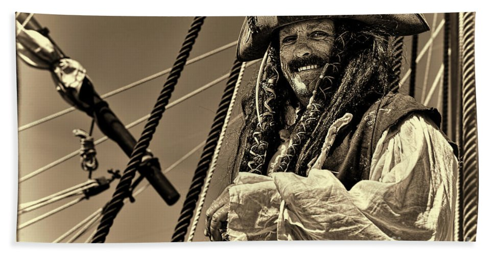 Pirate Hand Towel featuring the photograph Pirate by Olga Hamilton
