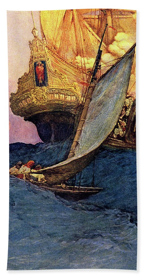 Vertical Bath Towel featuring the painting Pirate Ship Attacking Spanish Galleon by Vintage Images