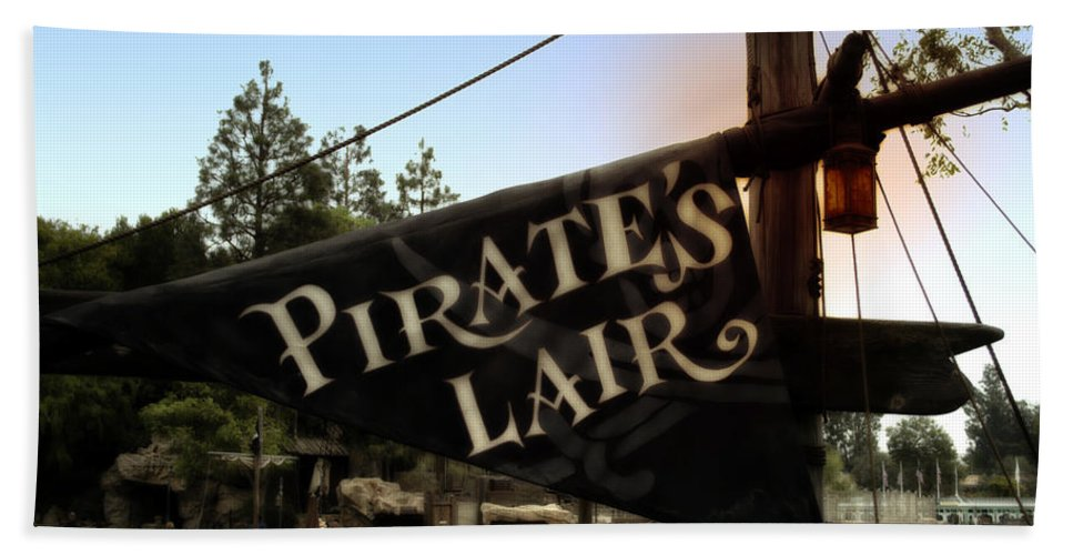 Disney Hand Towel featuring the photograph Pirates Lair Signage Frontierland Disneyland by Thomas Woolworth