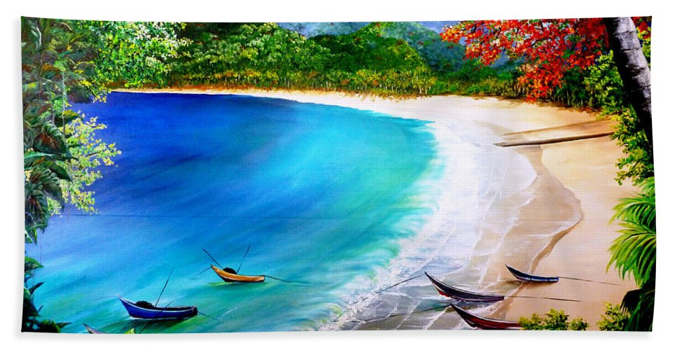 Fishing Boats Bath Sheet featuring the painting Pirogues At Rest by Karin Dawn Kelshall- Best