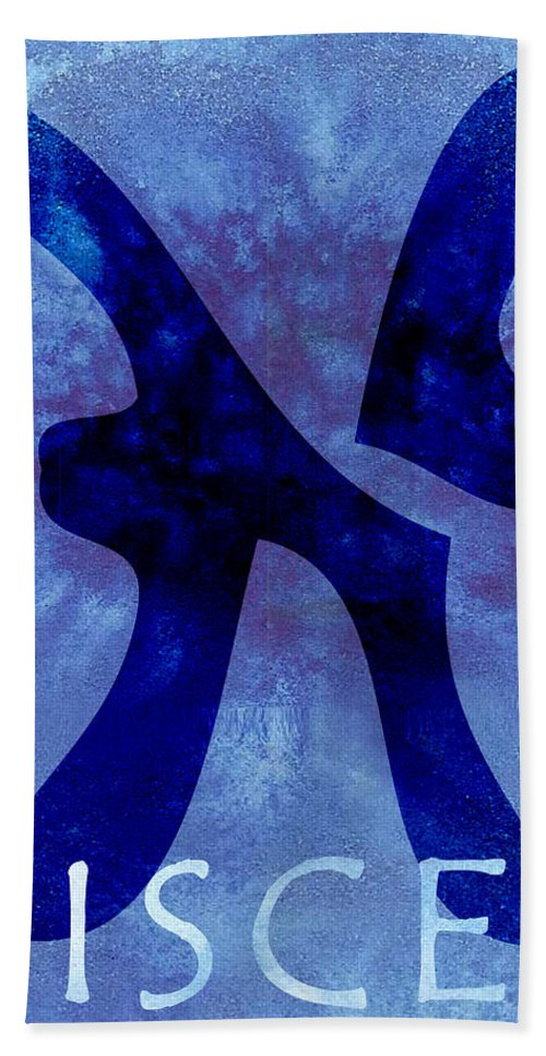 Pisces Sign Hand Towel featuring the digital art Pisces by Joelle Bhullar