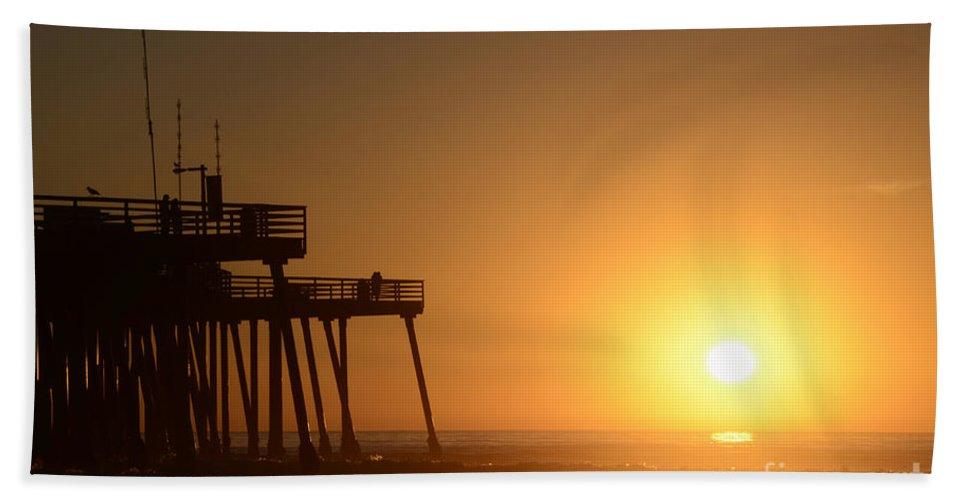 Pismo Bath Sheet featuring the photograph Pismo Beach Pier California 6 by Bob Christopher
