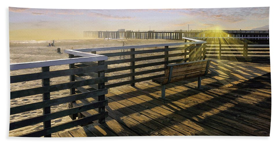 Pismo Beach Hand Towel featuring the photograph Pismo Boardwalk by Sharon Foster