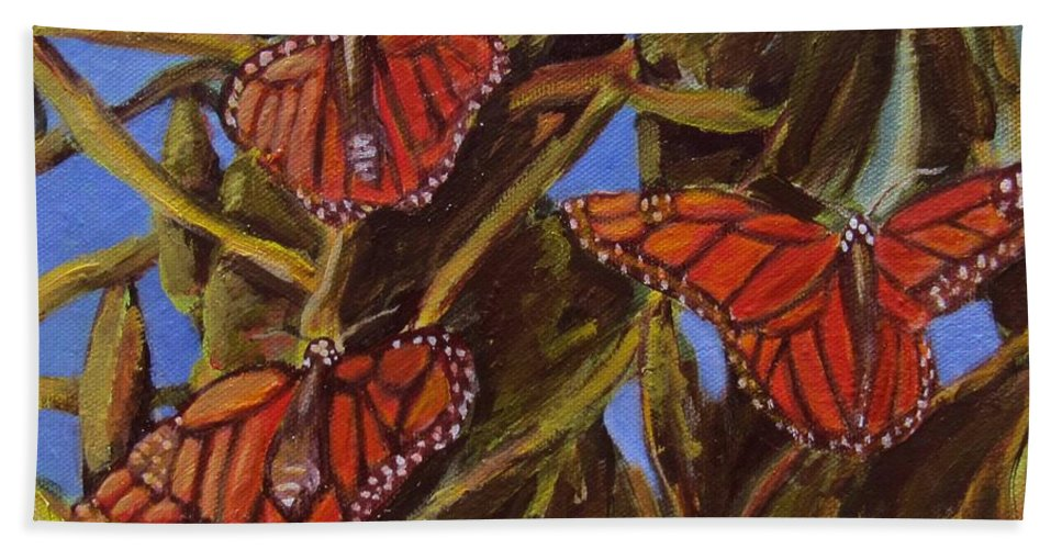 Butterflies Bath Towel featuring the painting Pismo Monarchs by Laurie Morgan