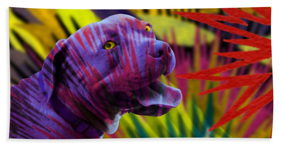 Pit Bull Terrier Dog Puppy Purple Gold Green Red Stars Fireworks Abstract Seacorc Hand Towel featuring the painting Pit Bull by Sean Corcoran