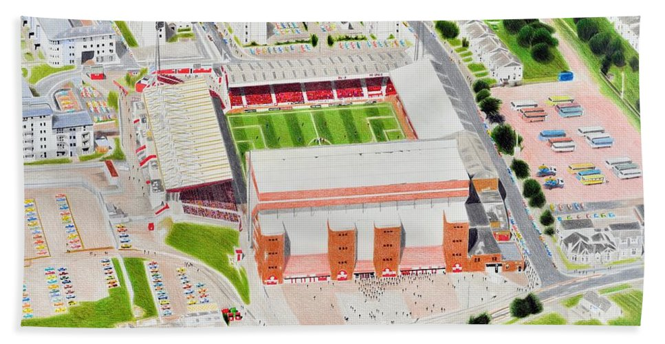 Art Bath Sheet featuring the painting Pittodrie Stadia Art by Brian Casey