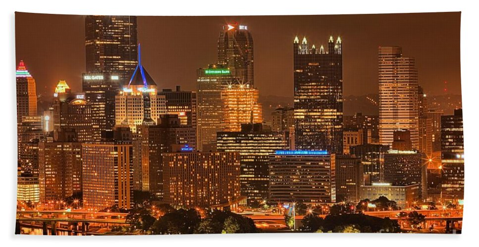 Pittsburgh Pennsylvania Bath Sheet featuring the photograph Pittsburgh Lights Under Cloudy Skies by Adam Jewell