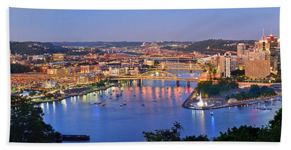 Pittsburgh Skyline Hand Towel featuring the photograph Pittsburgh Pennsylvania Skyline At Dusk Sunset Extra Wide Panorama by Jon Holiday