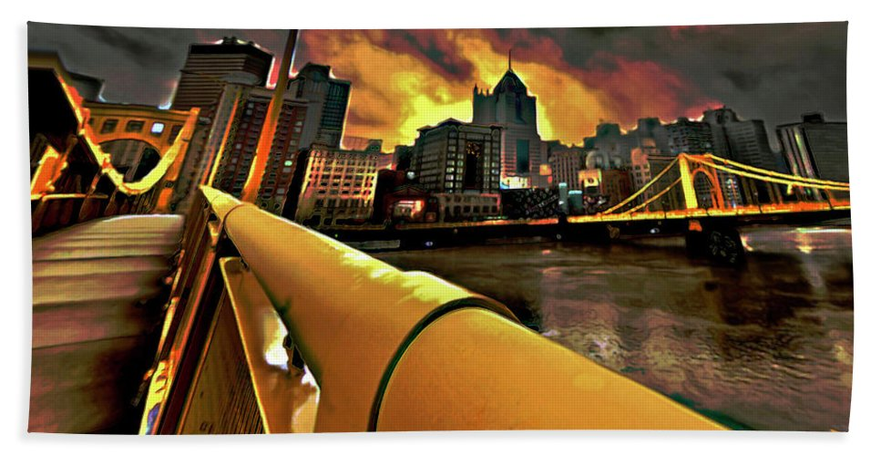 Pittsburgh Skyline Bath Sheet featuring the painting Pittsburgh Skyline by Fli Art