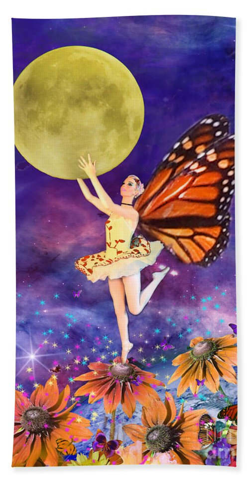 Ballerina Bath Towel featuring the digital art Pixie Ballerina by MGL Meiklejohn Graphics Licensing