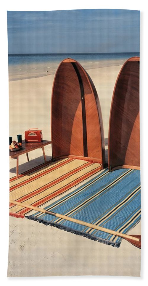 Accessories Bath Towel featuring the photograph Pixie Collapsible Boat On The Beach by Lois and Joe Steinmetz