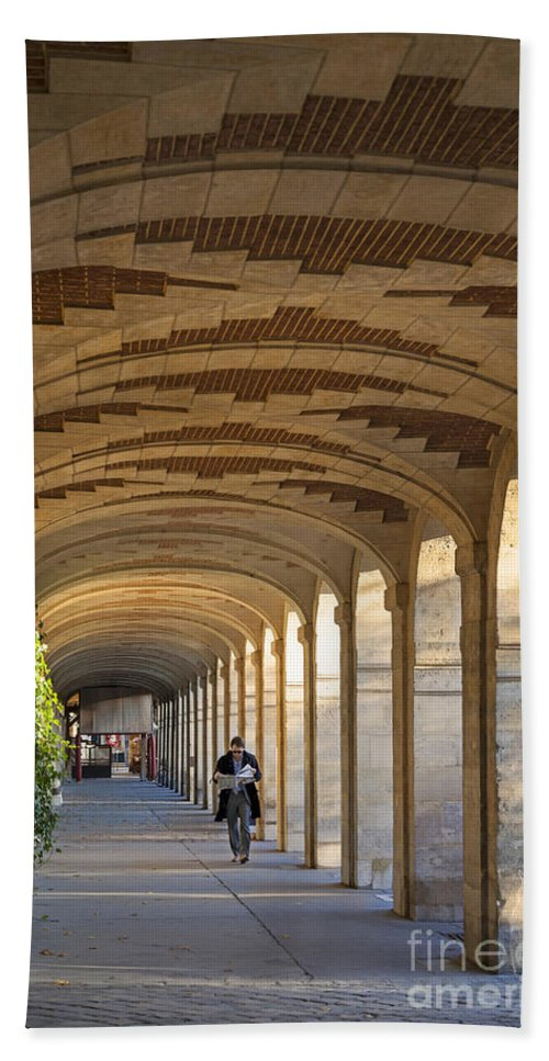 Arched Bath Sheet featuring the photograph Place Des Vosges Walkway by Brian Jannsen