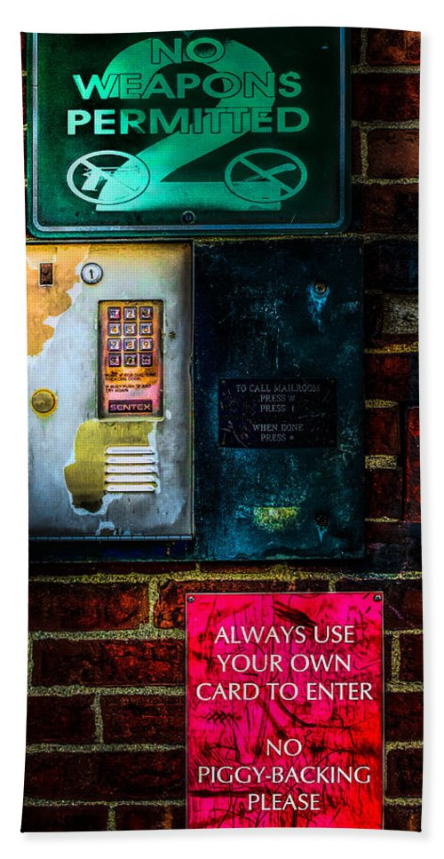 Sign's Door Bath Sheet featuring the photograph Place Without Windows by Bob Orsillo