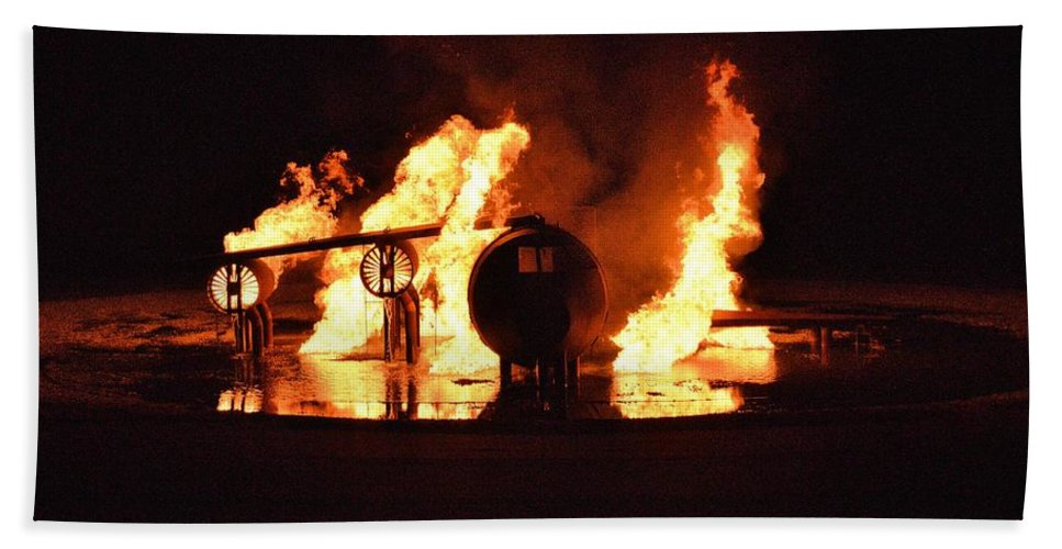 Burning Hand Towel featuring the photograph Plane Heats Up by Aaron Martens
