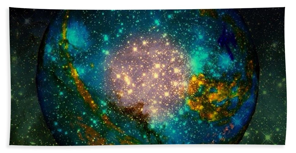 Planet Hand Towel featuring the painting Planet Disector Shadows by Saundra Myles