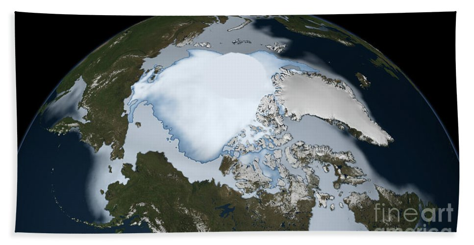 Horizontal Hand Towel featuring the photograph Planet Earth Showing Sea Ice Coverage by Stocktrek Images
