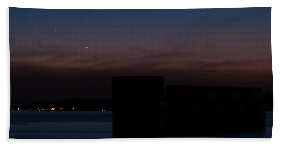 Conjunction Hand Towel featuring the photograph Planetary Conjunction Of Mercury Venus And Jupiter by Charles Hite