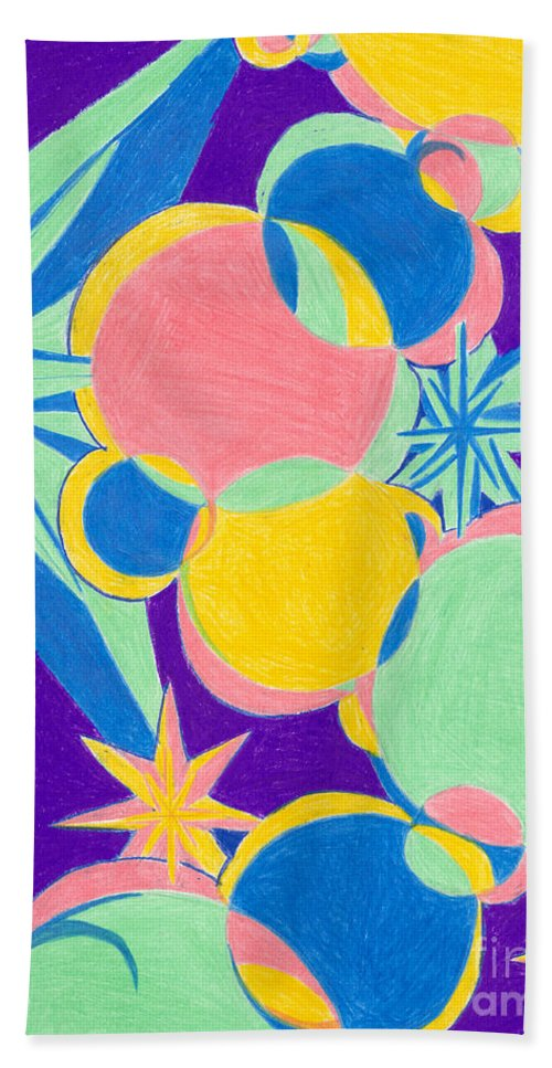 Color Bath Towel featuring the drawing Planets And Stars by Kim Sy Ok