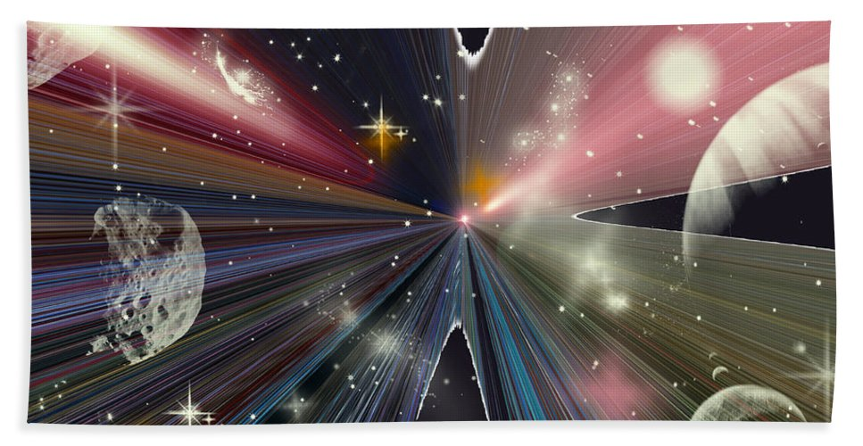 Augusta Stylianou Hand Towel featuring the digital art Planets Dancing by Augusta Stylianou
