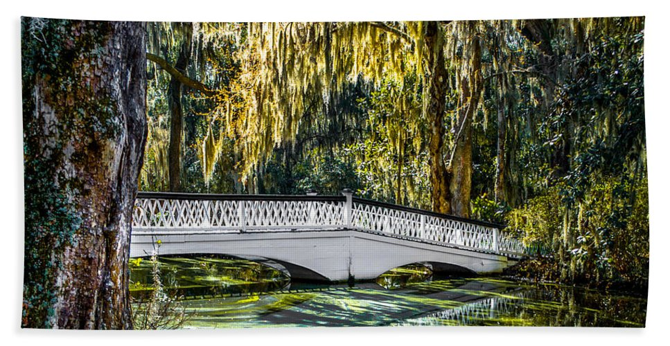Optical Playground By Mpray Hand Towel featuring the photograph Plantation Bridge by Optical Playground By MP Ray