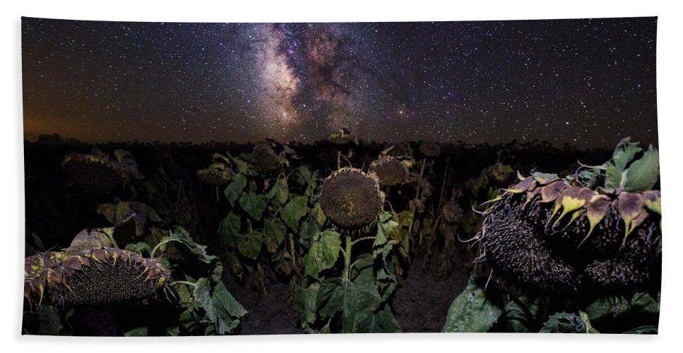 Milky Way Hand Towel featuring the photograph Plants Vs Milky Way by Aaron J Groen