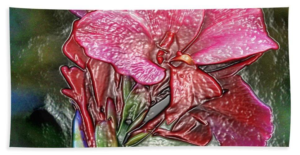 Flower Bath Sheet featuring the photograph Plastic Wrapped Pink Flower By Diana Sainz by Diana Raquel Sainz