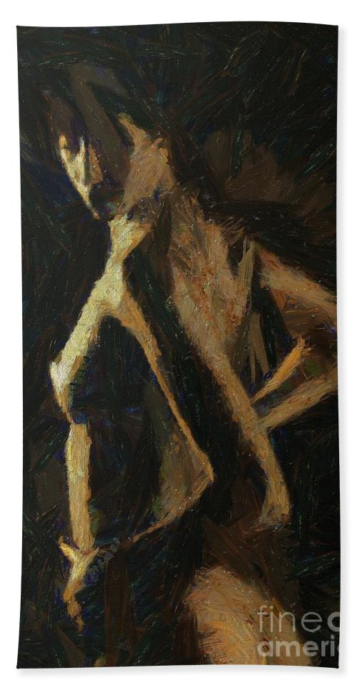 Nude Hand Towel featuring the painting Play Of Light by Dragica Micki Fortuna