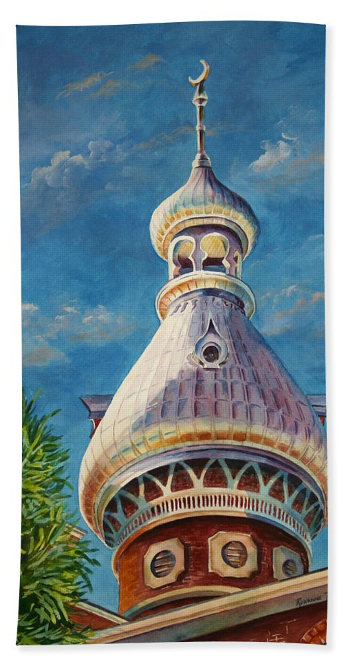University Of Tampa Bath Sheet featuring the painting Play Of Light - University Of Tampa by Roxanne Tobaison