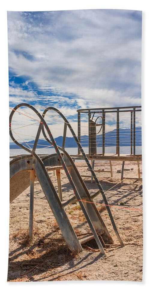 Salton Sea Hand Towel featuring the photograph Play Time Is Over Slide Playground by Scott Campbell