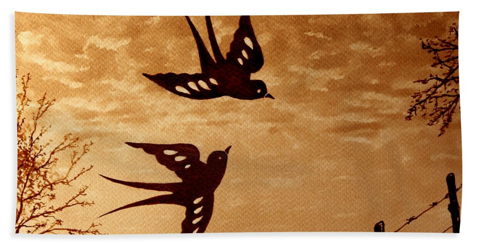 Swallow Bath Sheet featuring the painting Playful Swallows Original Coffee Painting by Georgeta Blanaru