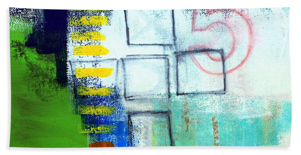 Abstract Bath Towel featuring the painting Playground by Linda Woods