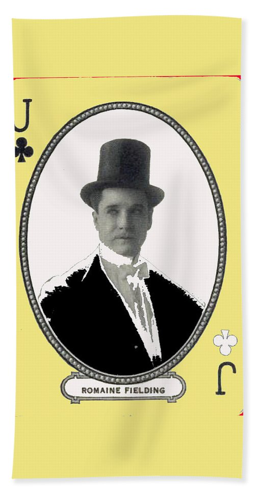 Playing Card Of Actor And Director Romain Fielding Unknown Date-2008 Bath Sheet featuring the photograph Playing Card Of Actor And Director Romain Fielding Unknown Date-2008 by David Lee Guss