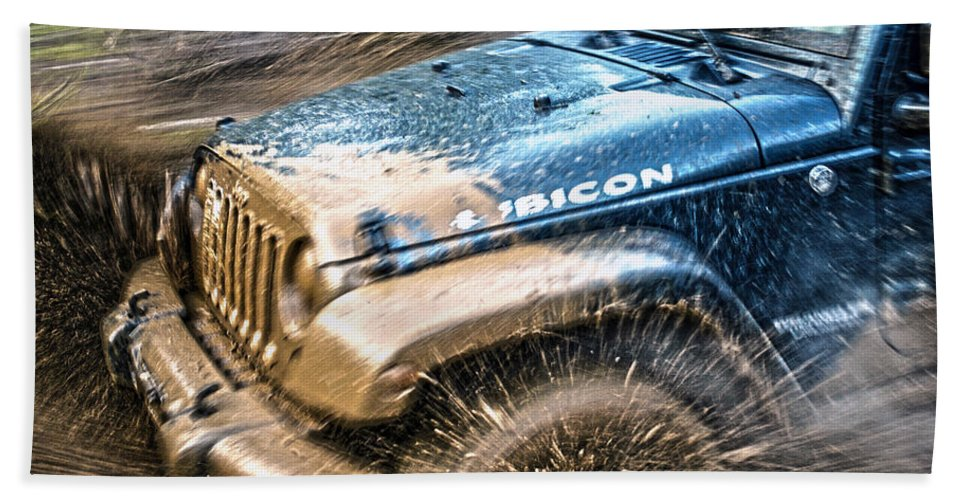 Off Bath Sheet featuring the photograph Playing In The Mud by Anna Burdette