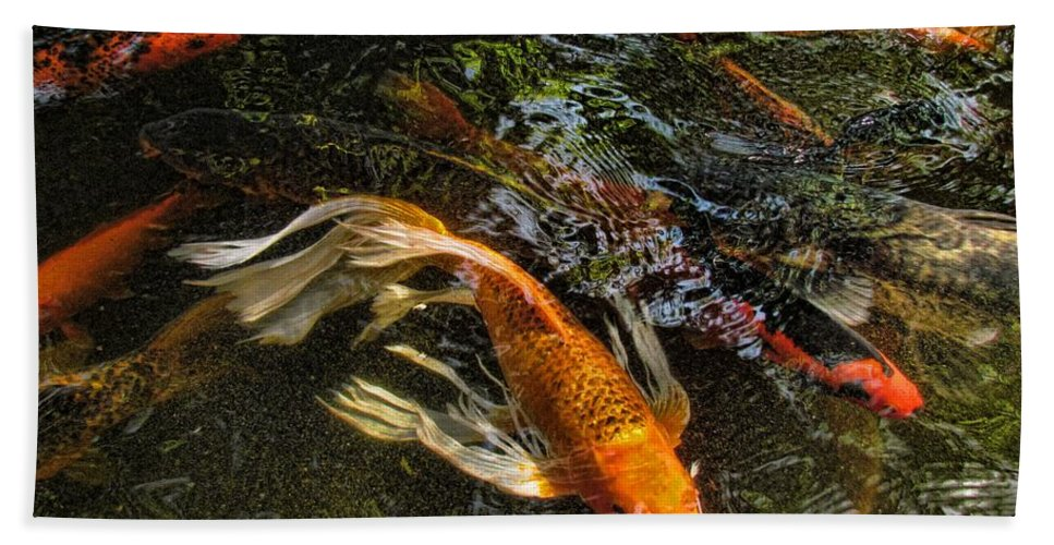 Koi Hand Towel featuring the photograph Playing Koi With Me by Shannon Story