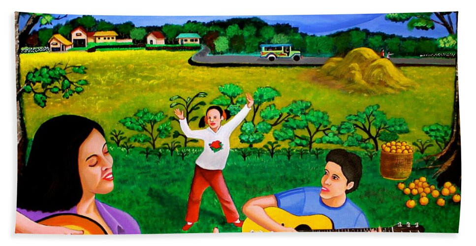 Guitar Hand Towel featuring the painting Playing Melodies Under The Shade Of Trees by Cyril Maza