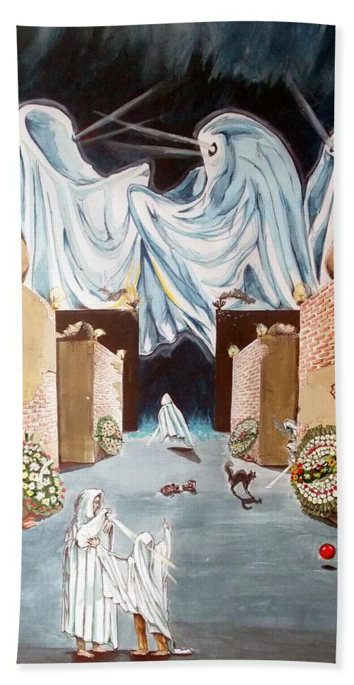 Surrealist Hand Towel featuring the painting Playing The Beyond by Lazaro Hurtado