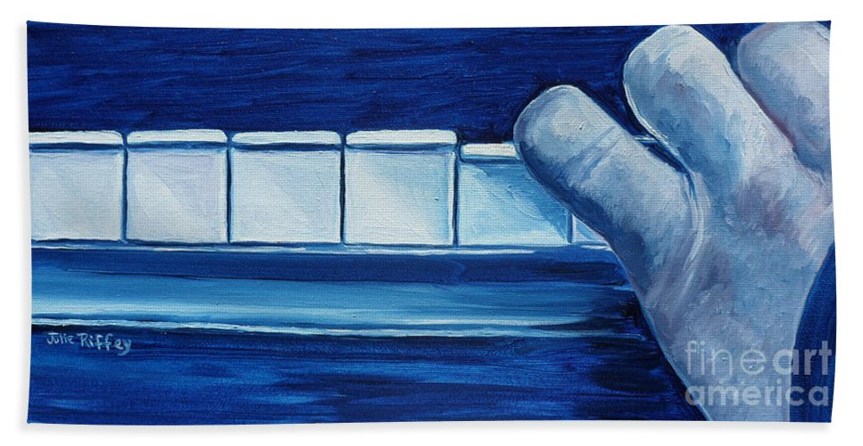 Piano Bath Sheet featuring the painting Playing The Blues by Julie Brugh Riffey