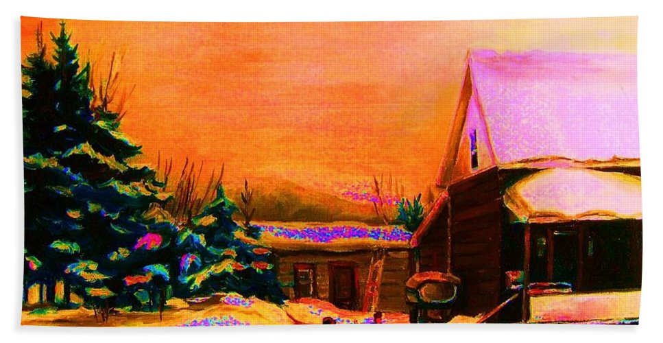Hocket Art Bath Towel featuring the painting Playing Until The Sun Sets by Carole Spandau