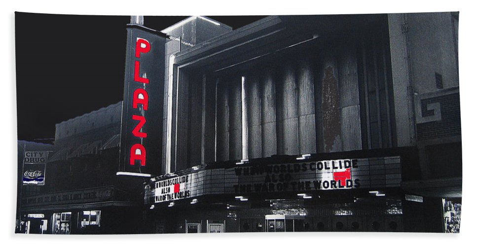 Plaza Theater Us Mexico Border Town Nuevo Laredo Nuevo Leon Mexico Collage 1977 Color Toning Added Bath Sheet featuring the photograph Plaza Theater Us Mexico Border Town Nuevo Laredo Nuevo Leon Mexico Collage 1977-2012 by David Lee Guss