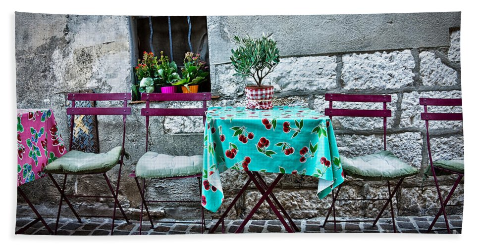Cafe Hand Towel featuring the photograph Please Have A Seat by Delphimages Photo Creations