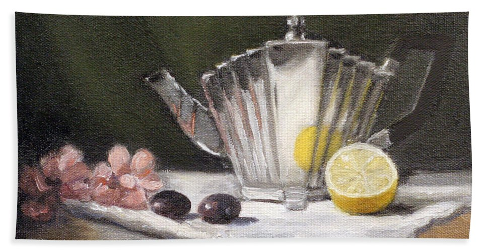 Silver Teapot Bath Sheet featuring the painting Pleated Teapot With Lemon by Sarah Parks
