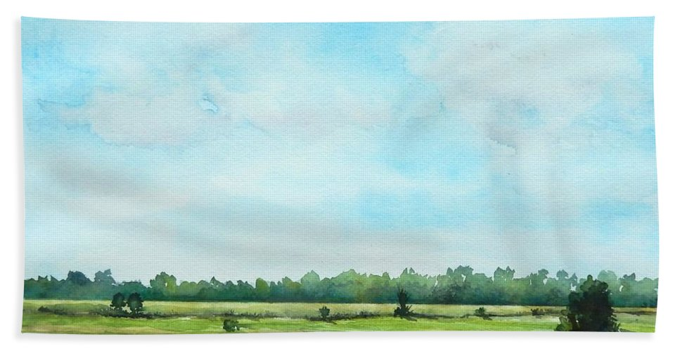 Plein Air Hand Towel featuring the painting Plein Air At Nancy's 2 by Yoshiko Mishina