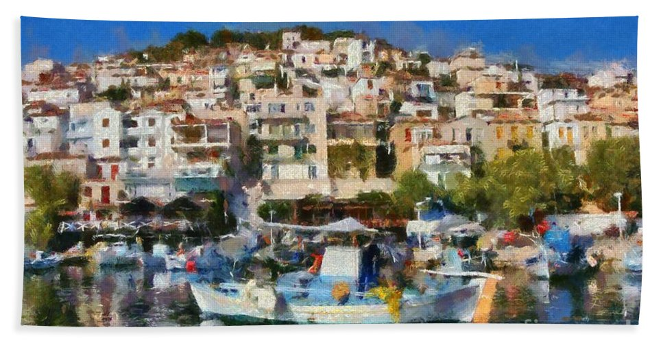 Lesvos; Lesbos; Plomari; City; Town; Port; Harbor; House; Houses; Color; Colorful; Colour; Colourful; Islands; Sea; Greece; Greek; Island; Hellas; Aegean; Summer; Holidays; Vacation; Tourism; Touristic; Travel; Trip; Voyage; Journey; Paint; Painting; Paintings; Boat; Boats; Fishing Bath Sheet featuring the painting Plomari Town by George Atsametakis
