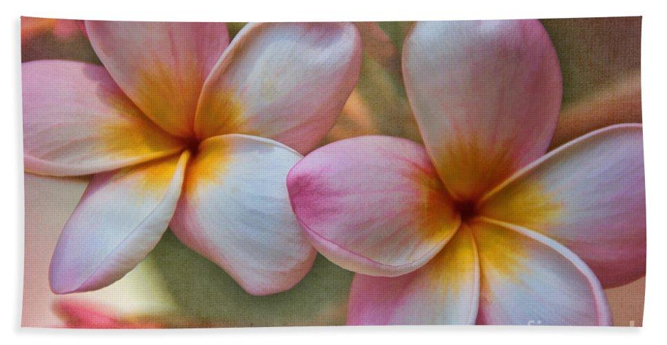 Flower Bath Sheet featuring the photograph Plumeria Pair by Peggy Hughes